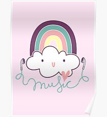 I Love Music Doodle Poster