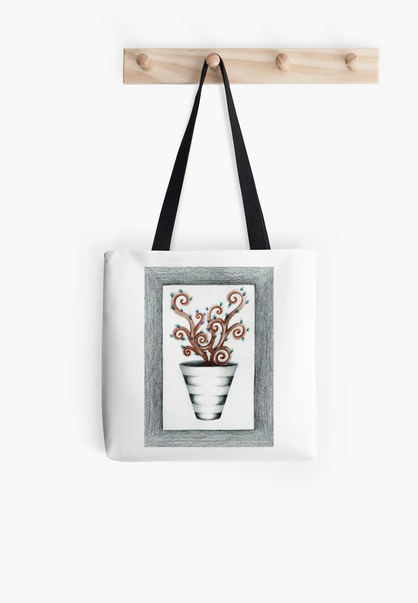 Quirky Spiral Plant in Striped Vase by WESSONARTISTS