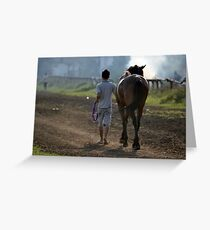 brown horse and a man Greeting Card