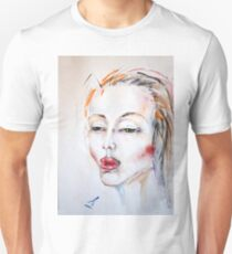 Girl's portrait. Red hair. Watercolor Unisex T-Shirt