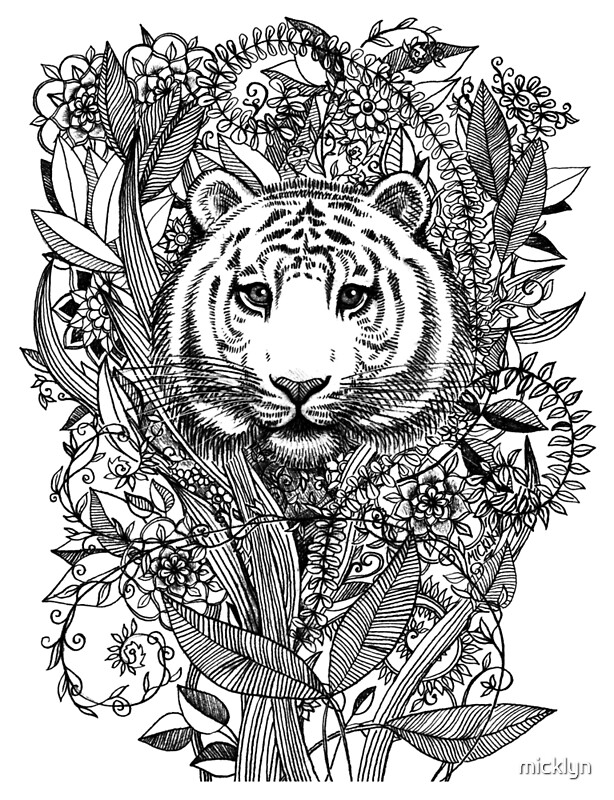 """""""tiger tangle in black and white"""" metal printsmicklyn"""