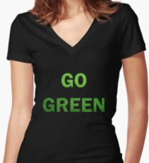 """Wording """"GO GREEN"""" made from green grass photo Women's Fitted V-Neck T-Shirt"""