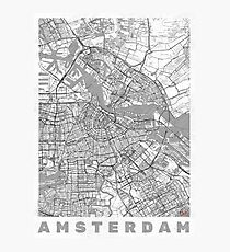 Amsterdam Map Line Photographic Print