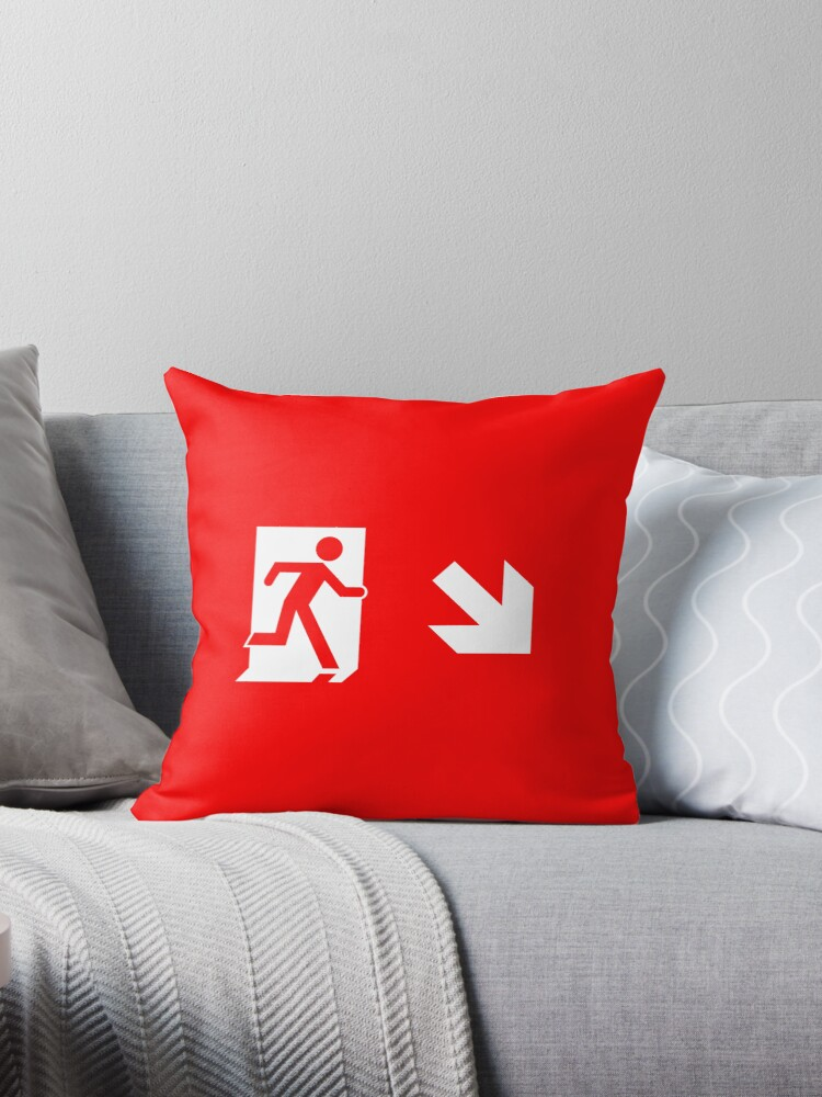 Running Man Emergency Exit Sign, Right Hand Diagonally Down Arrow by Egress Group Pty Ltd