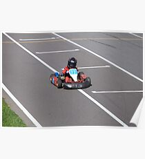 young Go-Carting  Racer finish Poster