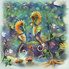 Paired for life, Seahorse Art by Robin Pushe'e