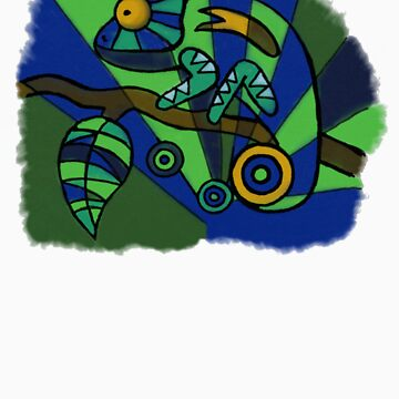 Hand-Drawn-Style PopArt Chameleon by Haylomeni