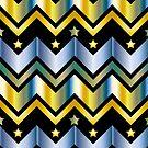 Chevron Metallic Gold Blue Green Gradation Stars Pattern by Beverly Claire Kaiya