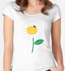 Whimsical Summer White Daisy and Red Ladybug Women's Fitted Scoop T-Shirt