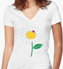 Whimsical Summer White Daisy and Red Ladybug Women's Fitted V-Neck T-Shirt