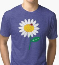 Whimsical Summer White Daisy and Red Ladybug Tri-blend T-Shirt