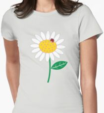 Whimsical Summer White Daisy and Red Ladybug Womens Fitted T-Shirt