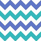 Chevron Zigzag Teal Violet Simple Pattern by Beverly Claire Kaiya