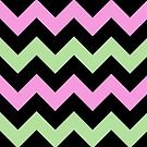 Chevron Light Pink Paris Green Zigzag Pattern by Beverly Claire Kaiya