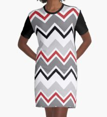 Chevron Red Grey Black Zigzag Pattern Graphic T-Shirt Dress