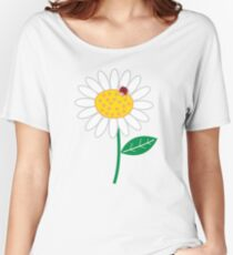 Whimsical Summer White Daisies & Red Ladybugs Women's Relaxed Fit T-Shirt