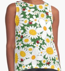 Whimsical Summer White Daisies & Red Ladybugs Contrast Tank