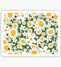 Whimsical Summer White Daisies & Red Ladybugs Sticker
