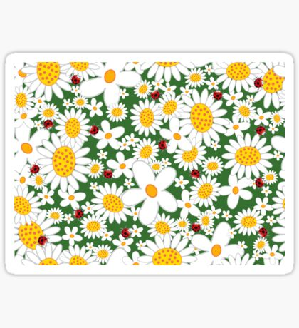 White Daisies and Red Ladybugs Sticker