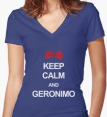 Keep calm and geronimo Women's Fitted V-Neck T-Shirt