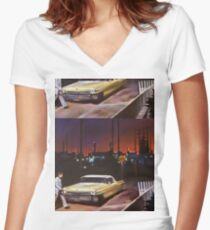 Yellow Cadillac Women's Fitted V-Neck T-Shirt