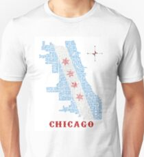 Chicago Flag Neighborhood Map T-Shirt