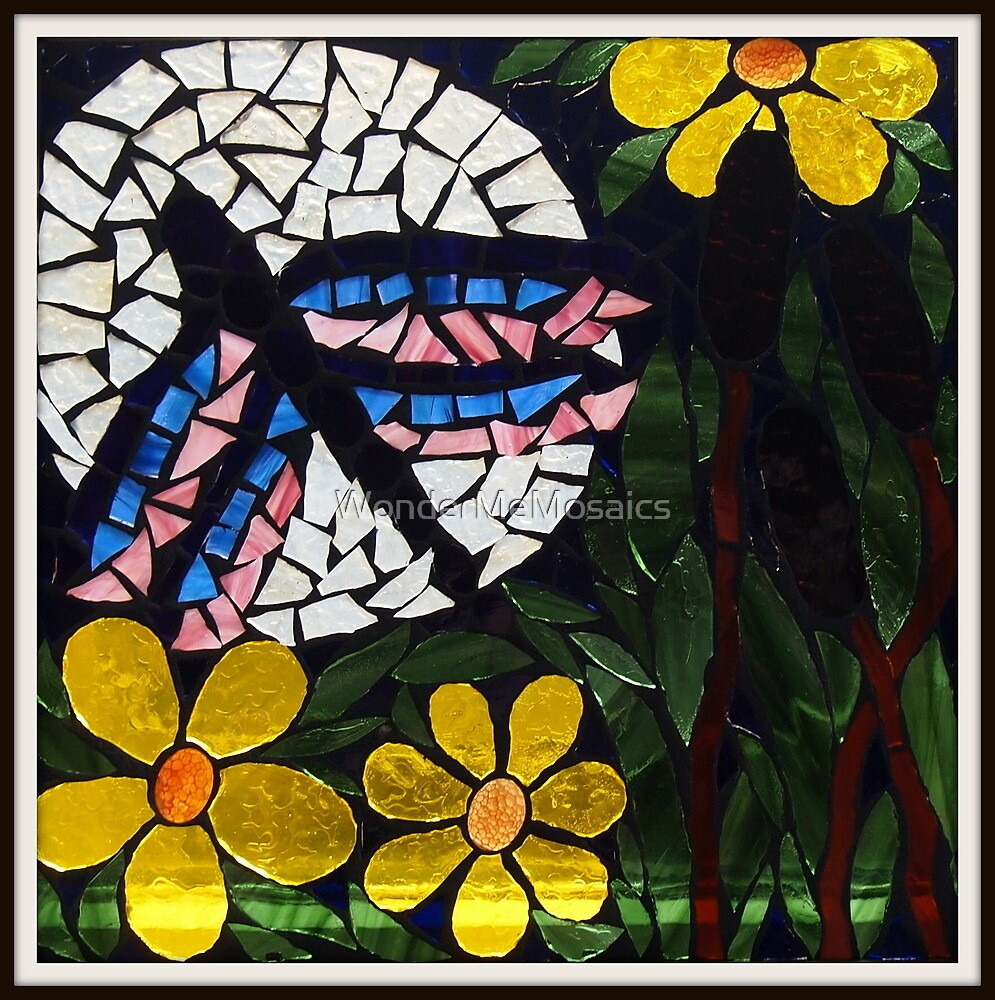 Dragonfly In Sunflower Field, Mosaic by WonderMeMosaics