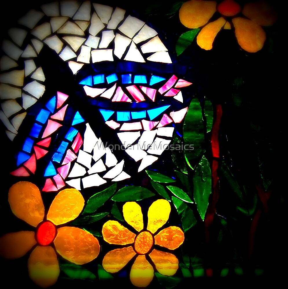 Psychedelic Dragonfly In Sunflower Field, Mosaic by WonderMeMosaics
