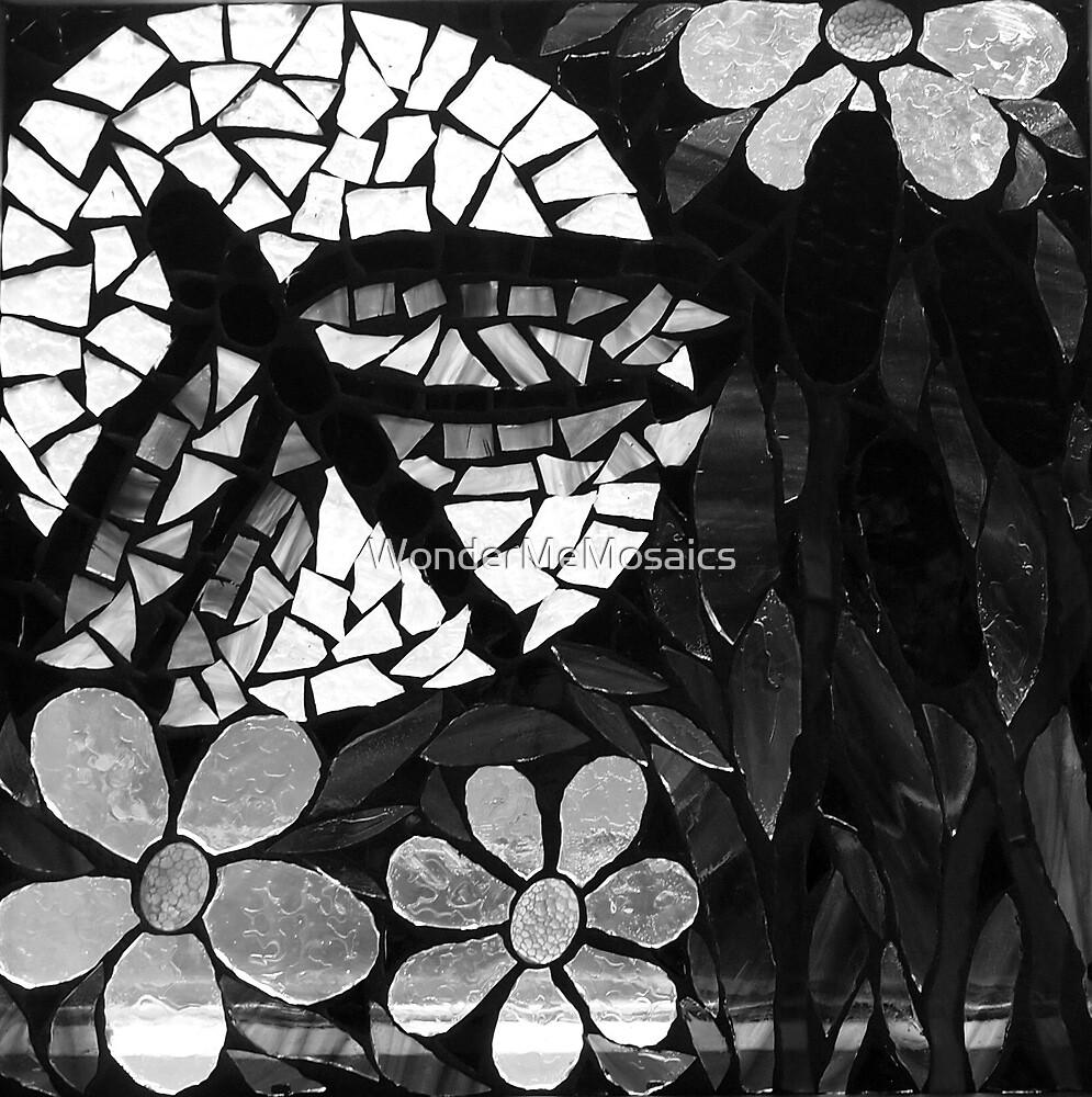 Black & White Dragonfly In Sunflower Field, Mosaic by WonderMeMosaics