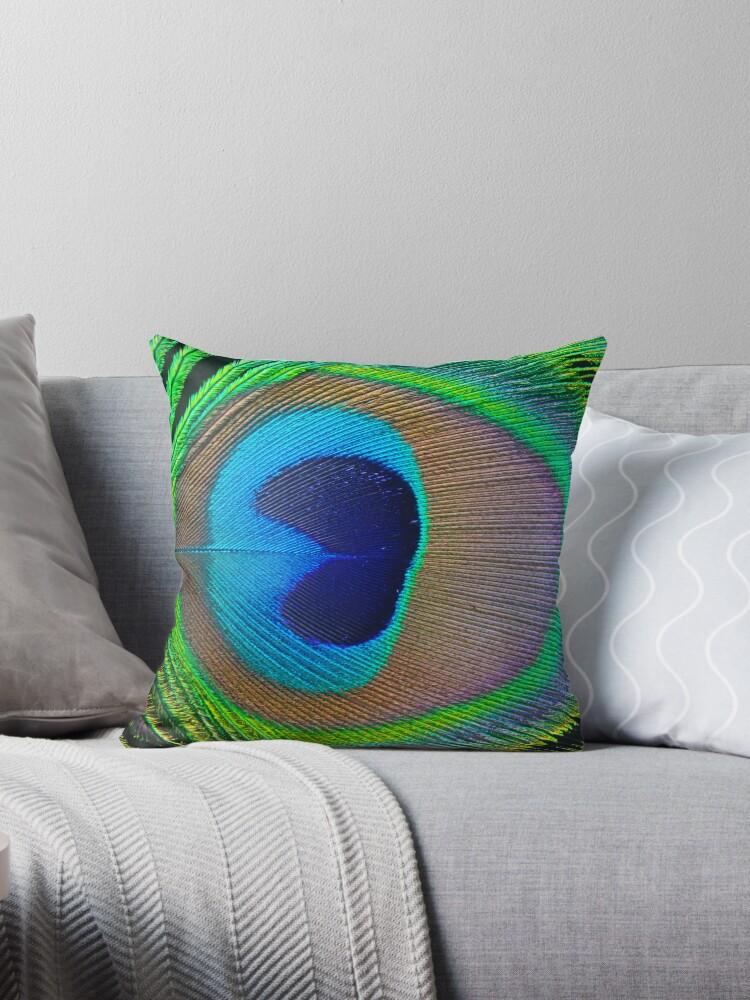 Peacock Feather Tote Bag & Throw Pillow by fantasytripp