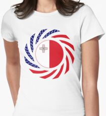 Maltese American Multinational Patriot Flag Series Womens Fitted T-Shirt