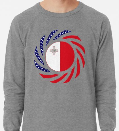 Maltese American Multinational Patriot Flag Series Lightweight Sweatshirt