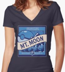 Mt. Moon Pokemon Beer Label Women's Fitted V-Neck T-Shirt