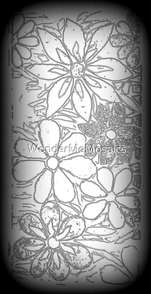 Drawn Burst of Garden of Flowers, Mosaic by WonderMeMosaics