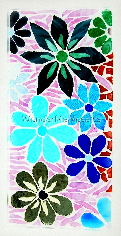 70s Design - Burst of Garden of Flowers, Mosaic by WonderMeMosaics