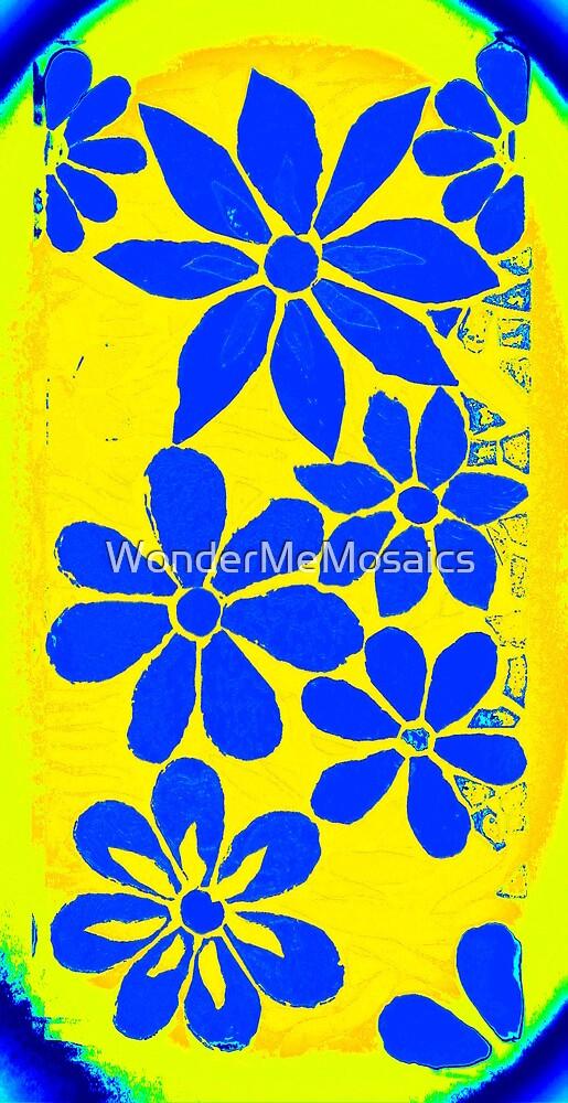 Burst of Blue / Yellow Flowers, Mosaic by WonderMeMosaics