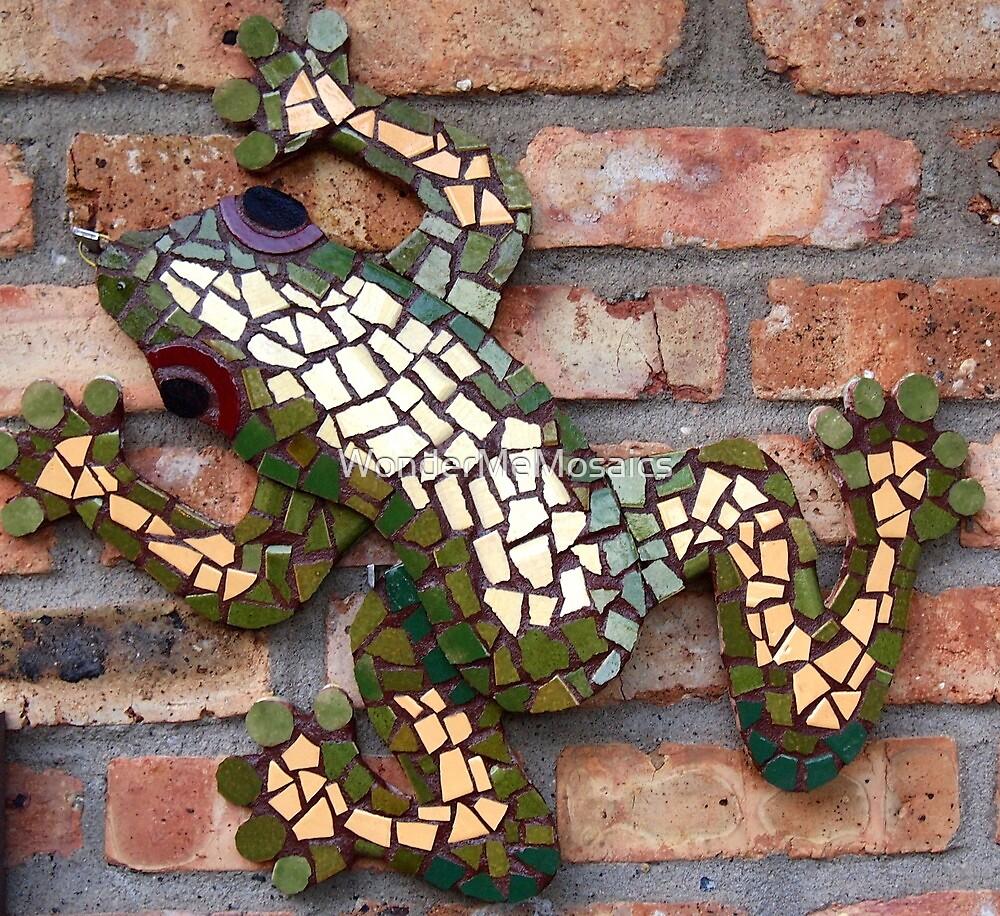 Climbing Mosaic Frog on Brick Facade by WonderMeMosaics