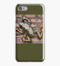 Climbing Mosaic Frog on Brick Facade iPhone Case/Skin