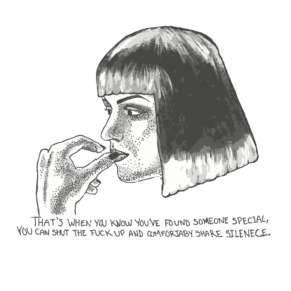 Mia Wallace of Pulp Fiction quote tee shirt by Nirel Escalante