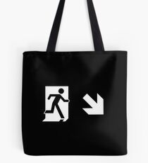 Running Man Emergency Exit Sign, Right Hand Diagonally Down Arrow Tote Bag