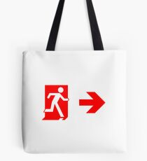 Running Man Emergency Exit Sign, Right Hand Arrow Tote Bag