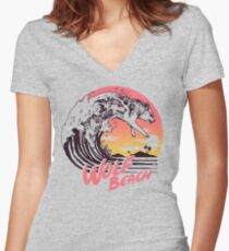 Wolf Beach Women's Fitted V-Neck T-Shirt