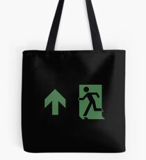 Running Man Emergency Exit Sign, Left Hand Up Arrow Tote Bag
