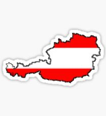 Austria Map With Austrian flag Sticker