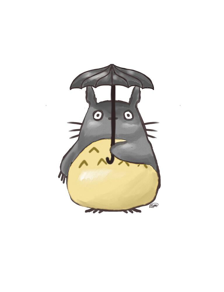 Totoro Watercolor Under an Umbrella by NatMit