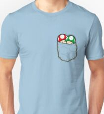 Red Green Mario Mushrooms In Pocket T-Shirt