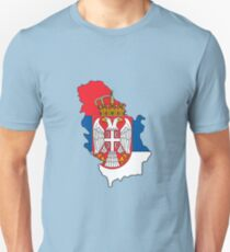 Serbia and Kosovo Map With Flag Unisex T-Shirt