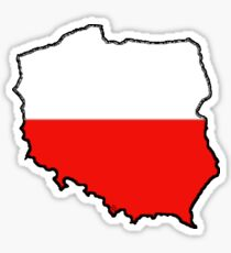 Poland Map With Polish Flag Sticker