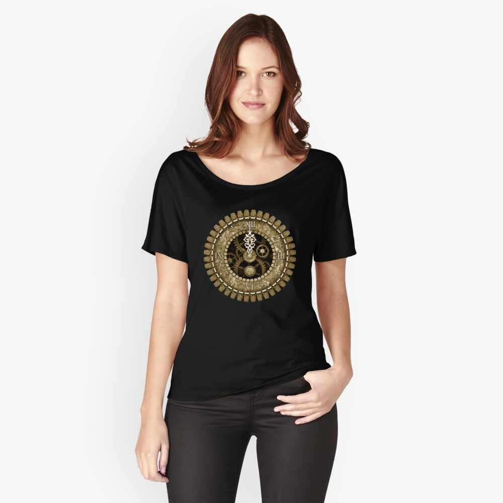 Steampunk Vintage Clock Face in Sepia Relaxed Fit T-Shirt