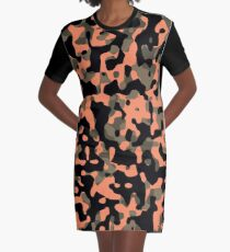 Peachy Camouflage Pattern Graphic T-Shirt Dress